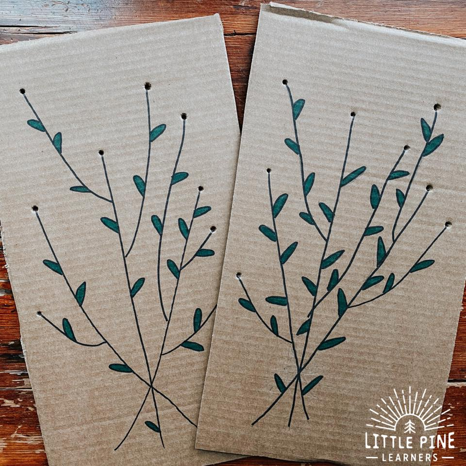 Try this beautiful fine motor activity the next time you are in your backyard! This flower threading board is free to make and will take you 5 minutes to prepare. Press the flowers right on the cardboard and this gorgeous nature craft will last forever!