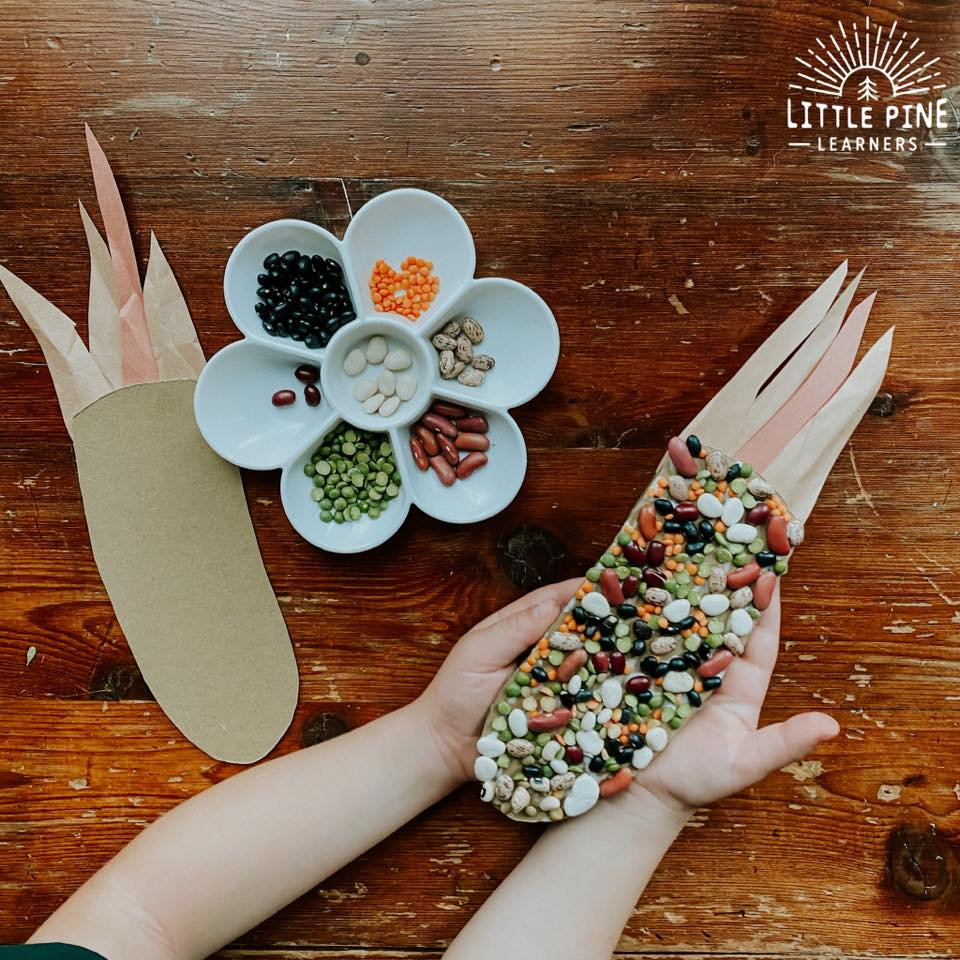 Here are some pretty Indian corn craft ideas for Thanksgiving! These crafts are extra special because we used beautiful pieces of nature to create these ears of Indian corn. These are very low prep crafts and you don't need many supplies! Give one a try today.