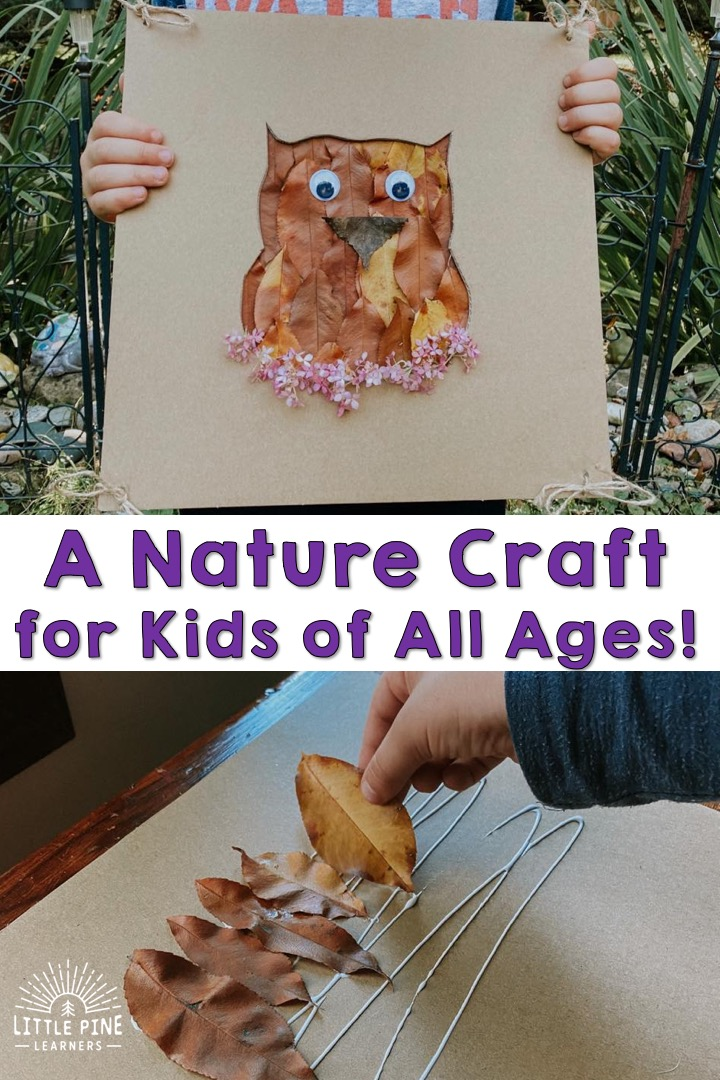 This simple nature craft is for kids of all ages! Younger children can glue the basic pieces of nature to the cardboard background and older children can add detail to their nature pictures. You can also change up the nature pieces and cut out picture to match any theme or season!