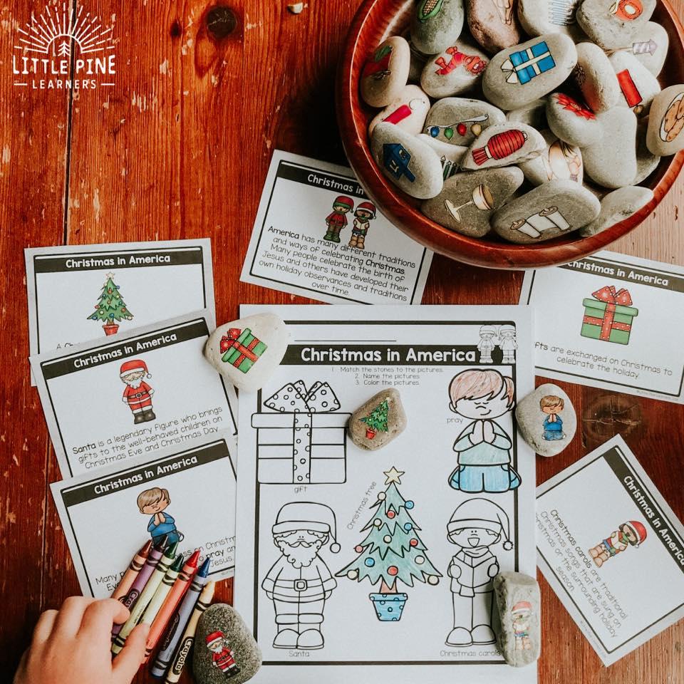 Christmas story stones and printables for kids!