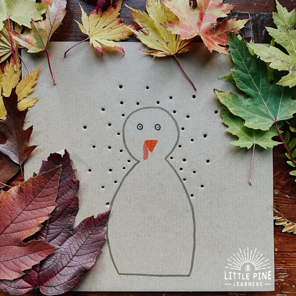 This the the best leaf turkey craft! Kids will love collecting leaves, creating their turkey AND will get the added benefit of working on their fine motor skills when weaving the stems through the board. This couldn't be easier to set up and looks adorable when complete!