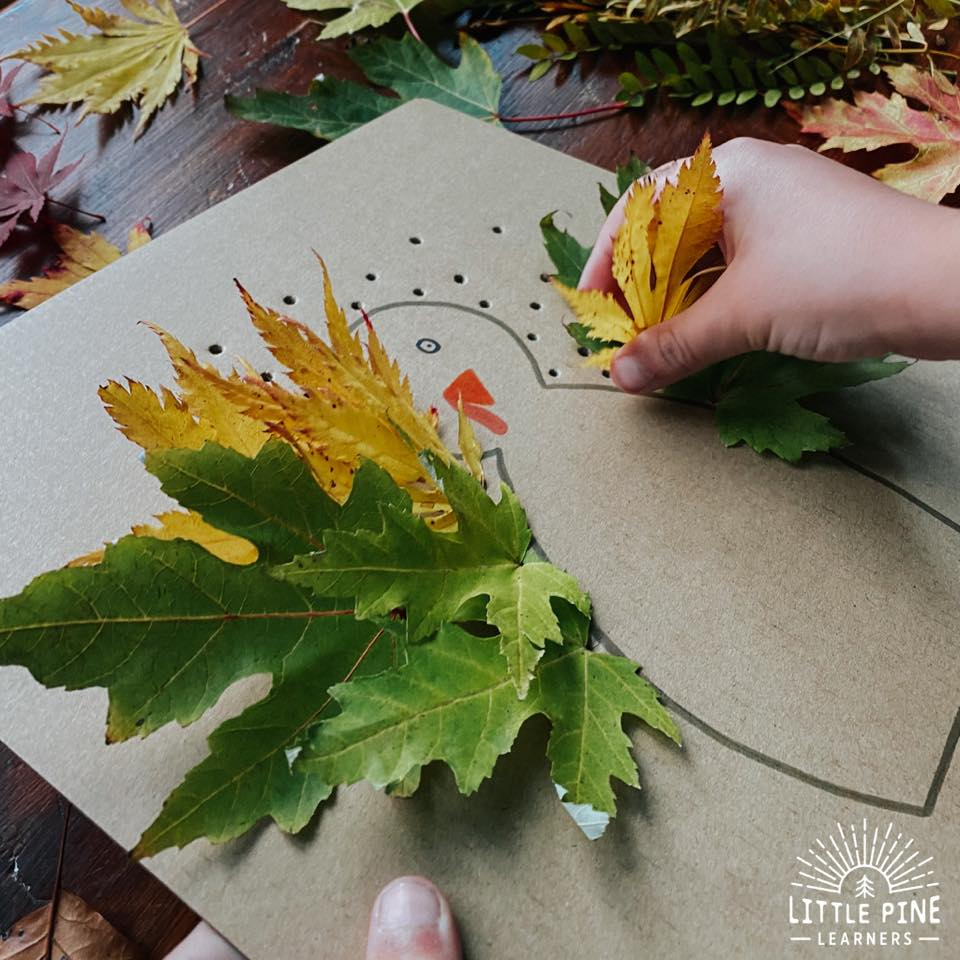 This the the best leaf turkey craft for Thanksgiving! Kids will love collecting leaves, creating their turkey AND will get the added benefit of working on their fine motor skills when weaving the stems through the board. This couldn't be easier to set up and looks adorable when complete!