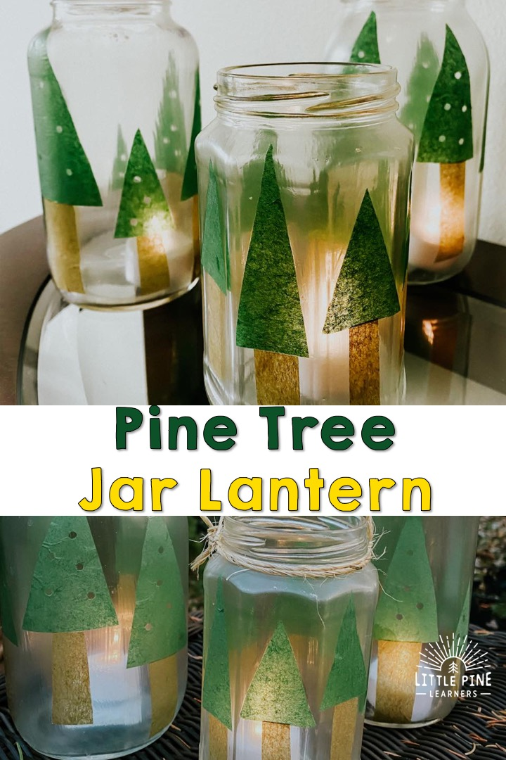These pine tree lanterns make the perfect handmade Christmas gift or decoration for your home! They are so easy to make and kids will love to help with the process.