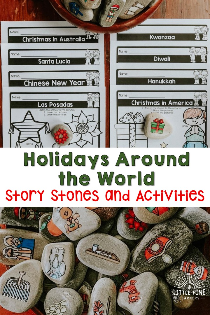 Check out this creative way to introduce eight holidays around the world to your students. The holidays included are Christmas in America, Christmas in Australia, Hanukkah, Kwanzaa, Las Posadas, Diwali, Chinese New Year, and Santa Lucia. Here you will find story stone graphics, holiday information cards, writing pages, a cut and paste activity, and more!