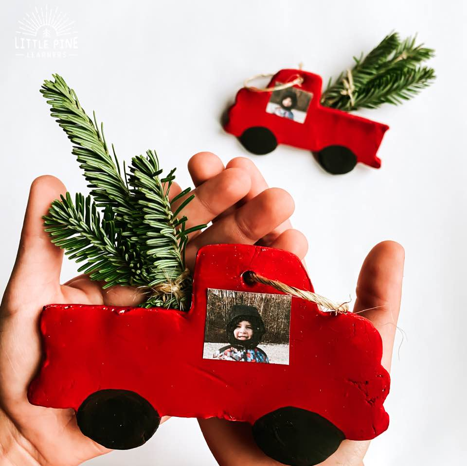 Red truck clay Christmas ornament