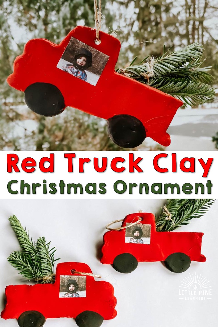 Adorable Red truck clay Christmas ornament