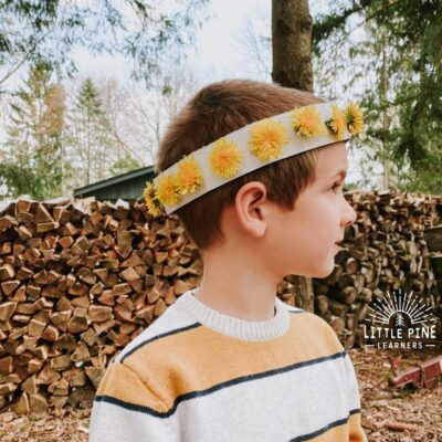 This is the EASIET dandelion crown you will ever make! Kids of all ages will enjoy this simple nature craft and the cardboard crowns can be saved for endless wildflower crown in summer.