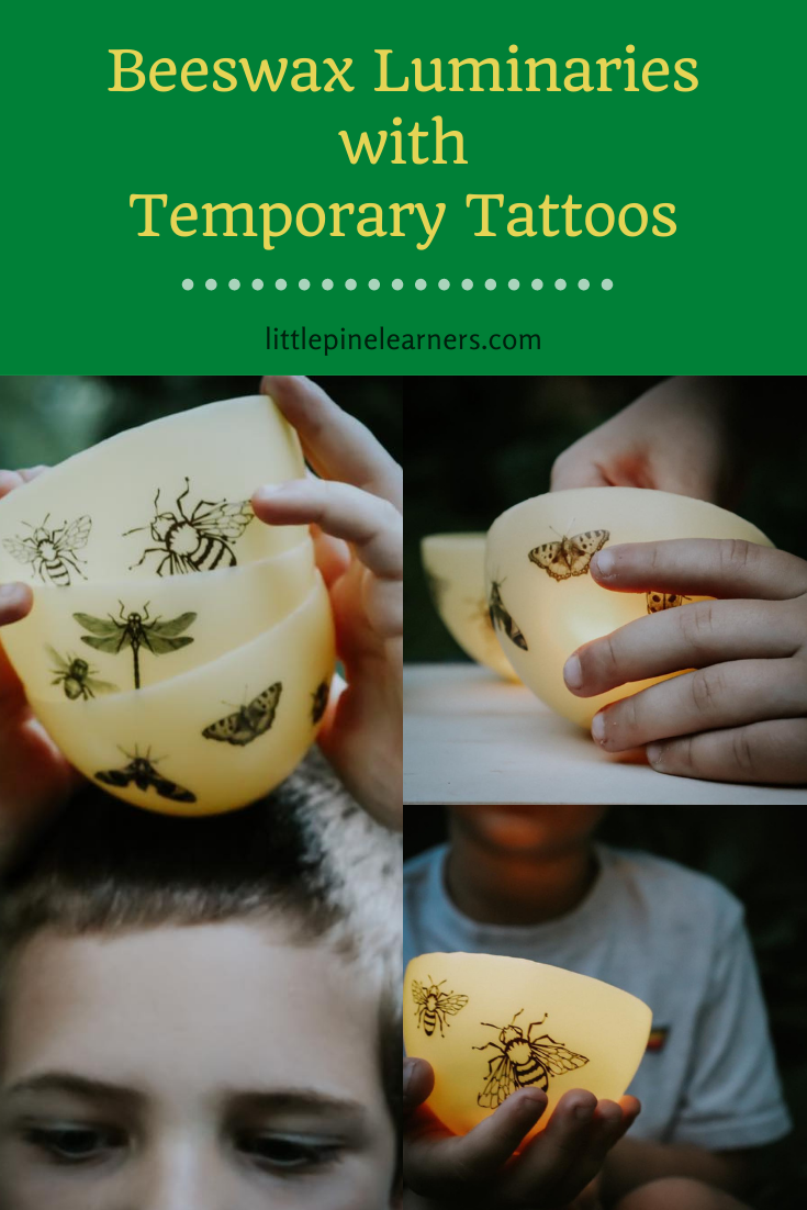 Beeswax luminaries with pretty temporary tattoos