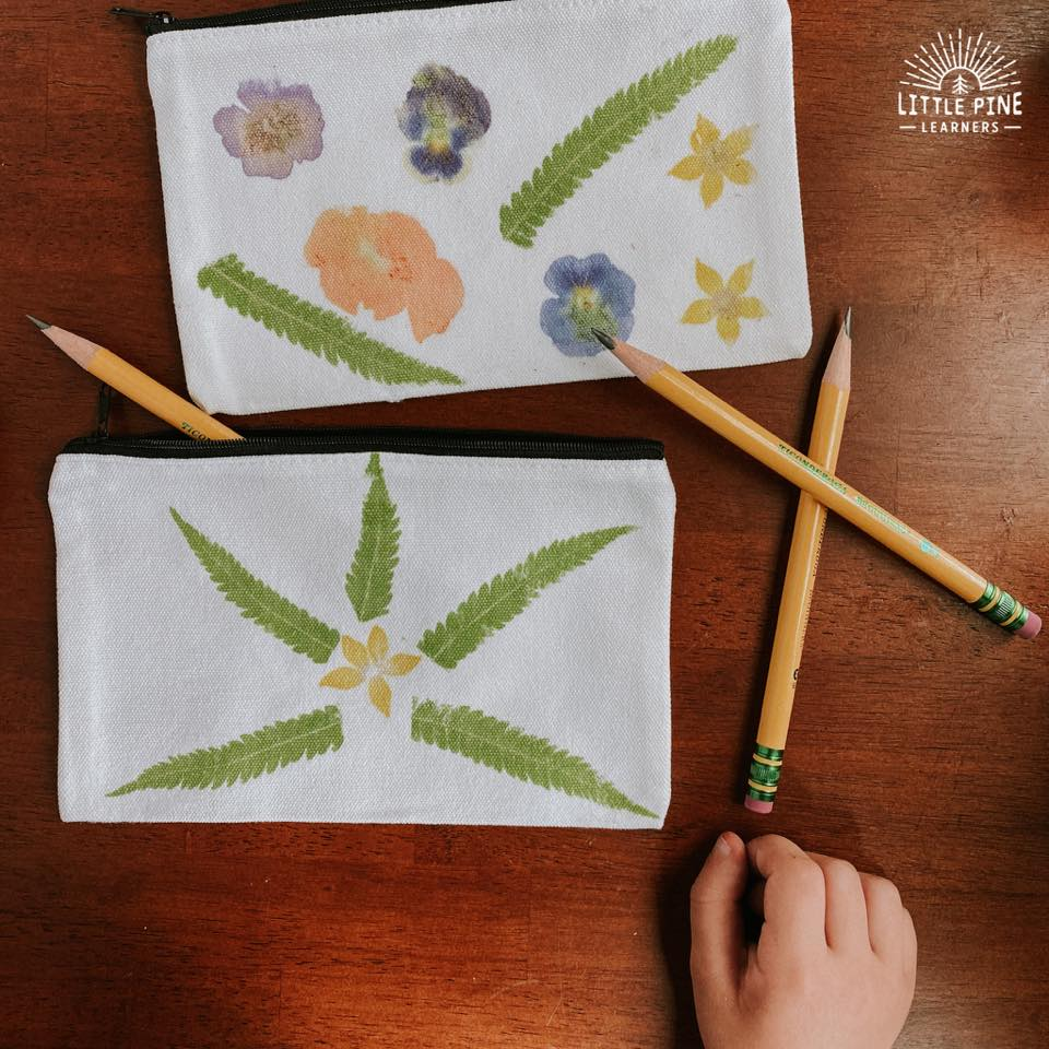 Homemade pencil case with nature prints
