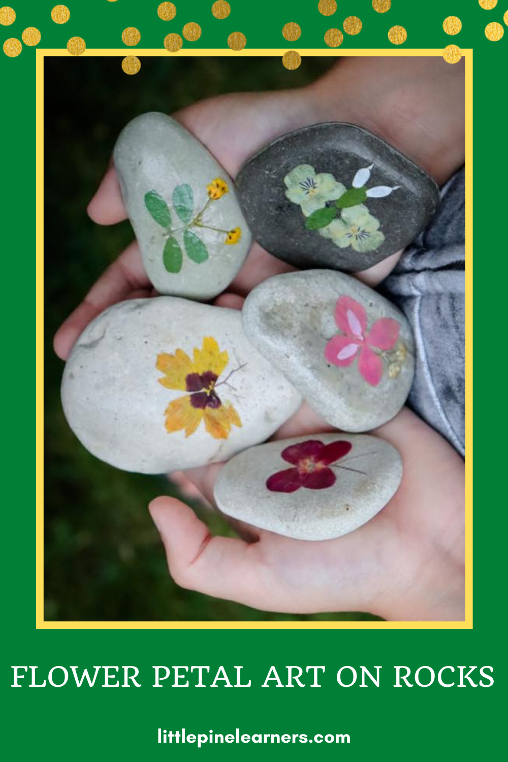 Collect flowers and make beautiful flower petal art with kids!