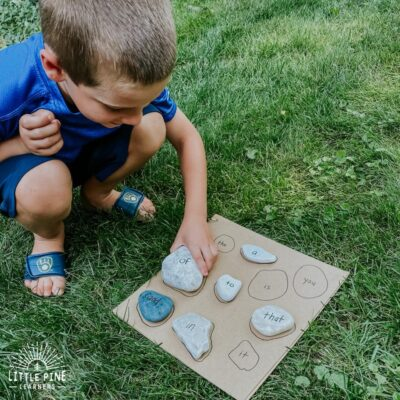 Sight Word Practice with Stones