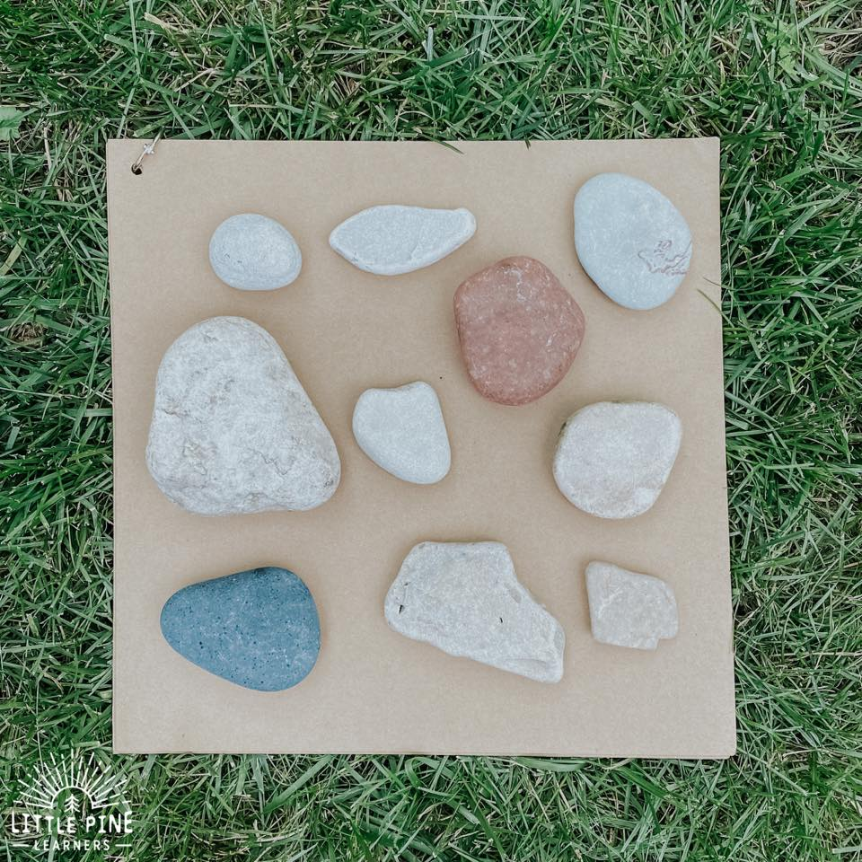 Literacy game with stones